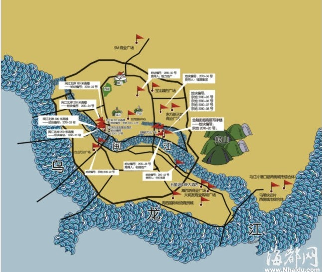 福州城区规划域在建商业项目分布图汇总